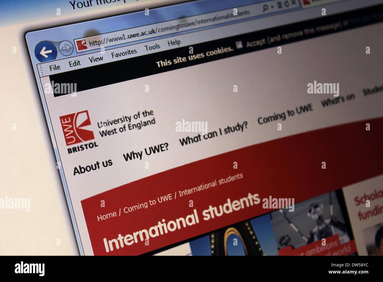 UWE University of West of England Bristol website - Stock Image