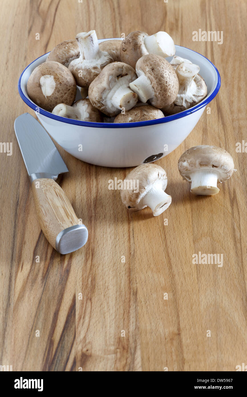 Enamel dish with fresh mushrooms and a kitchen knife on the counter-top - Stock Image