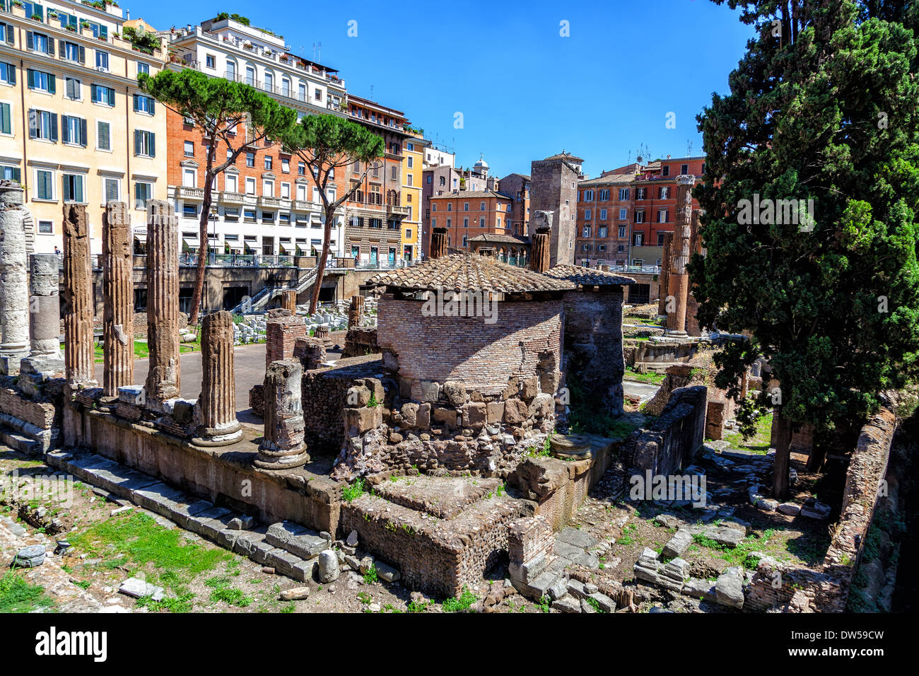 Archaeological excavations of ancient buildings in the center of Rome Stock Photo