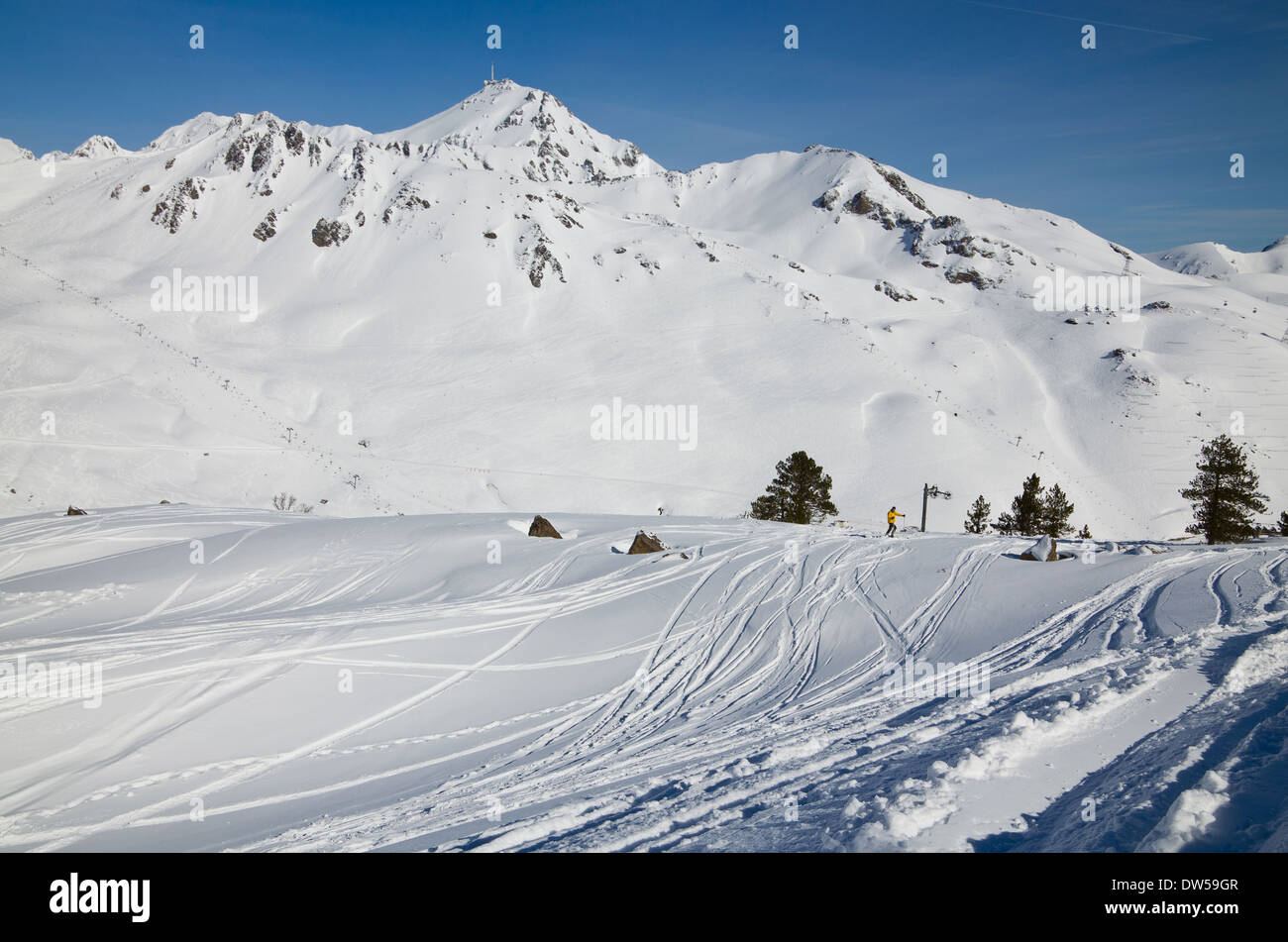 Skiing in the spring Pyrenees - Stock Image