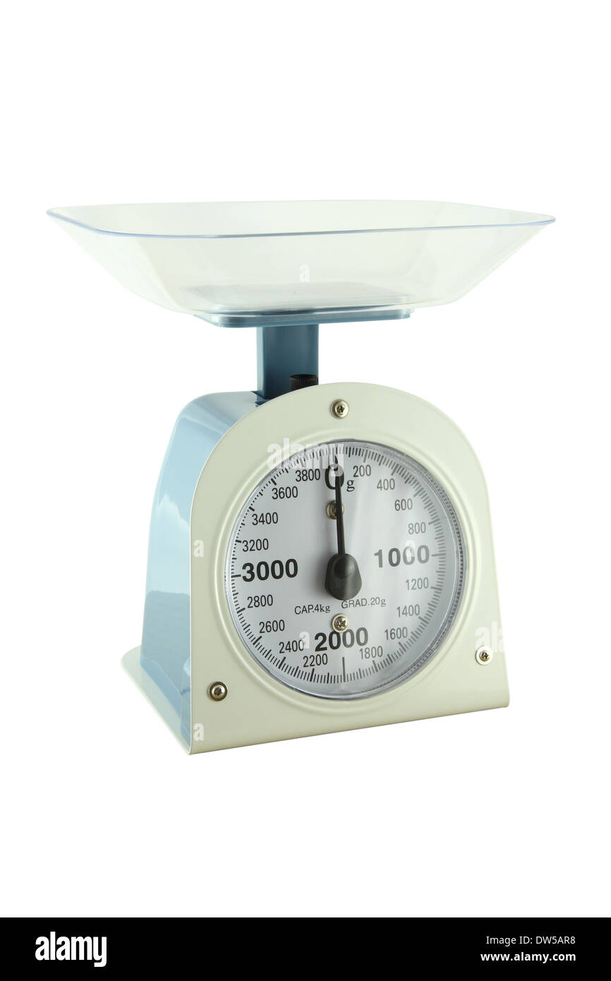 Weighing apparatus for kitchen scale from side view. Stock Photo