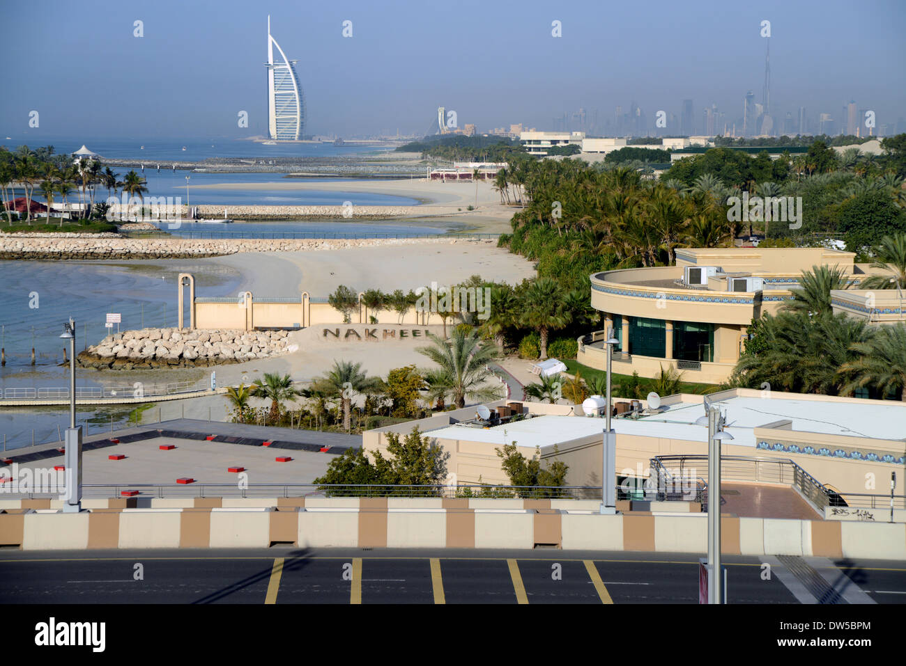 DUBAI - The view from the monorail heading to the Palm resort  with the iconic Burj Al Arab hotel on the skyline Stock Photo
