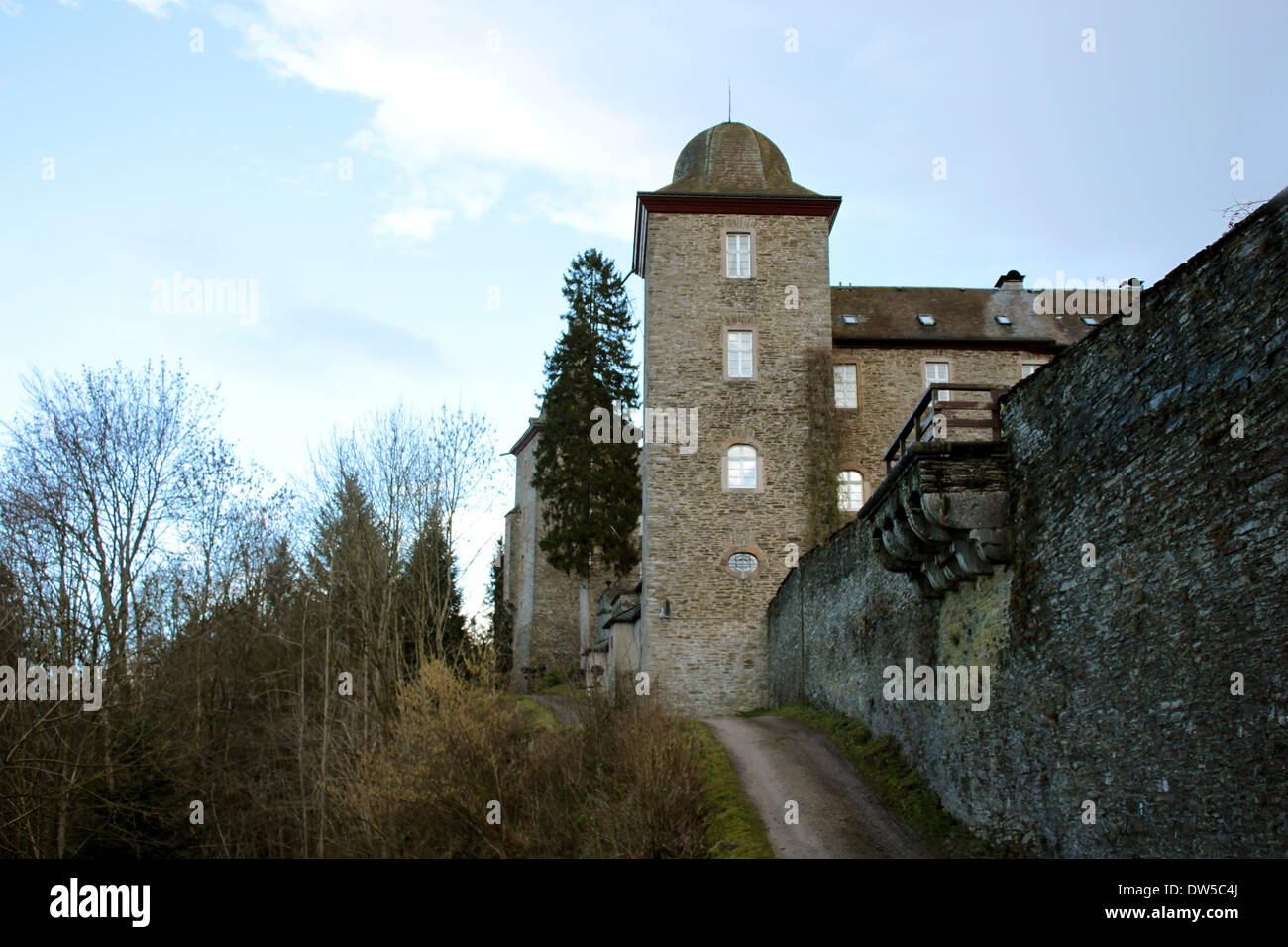 Castle Schnellenberg with Tower and outside wall in Attendorn Stock Photo