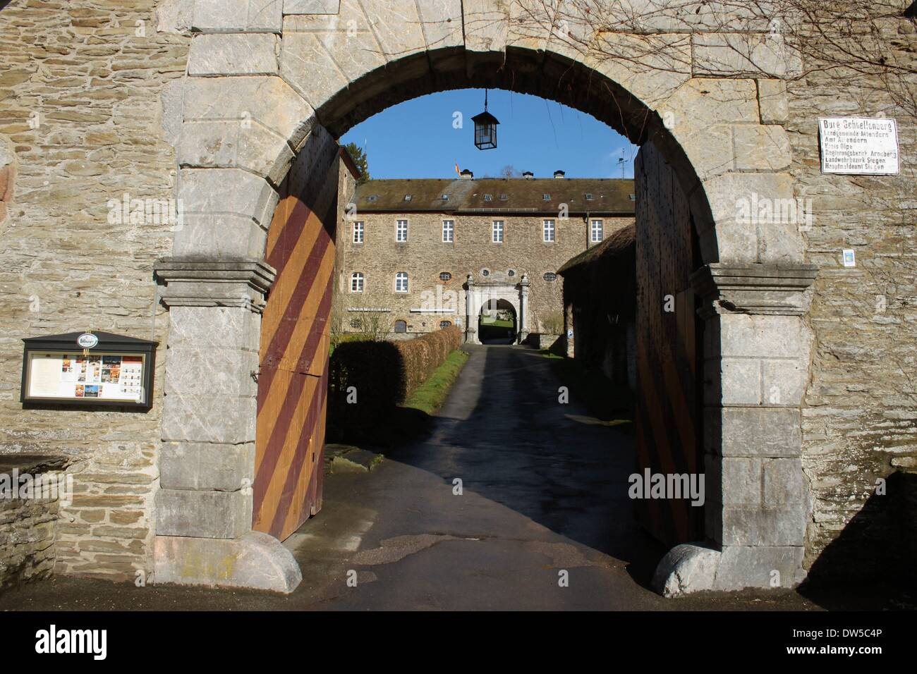Gates and Floors into the Castle Schnellenberg in Attendorn Stock Photo