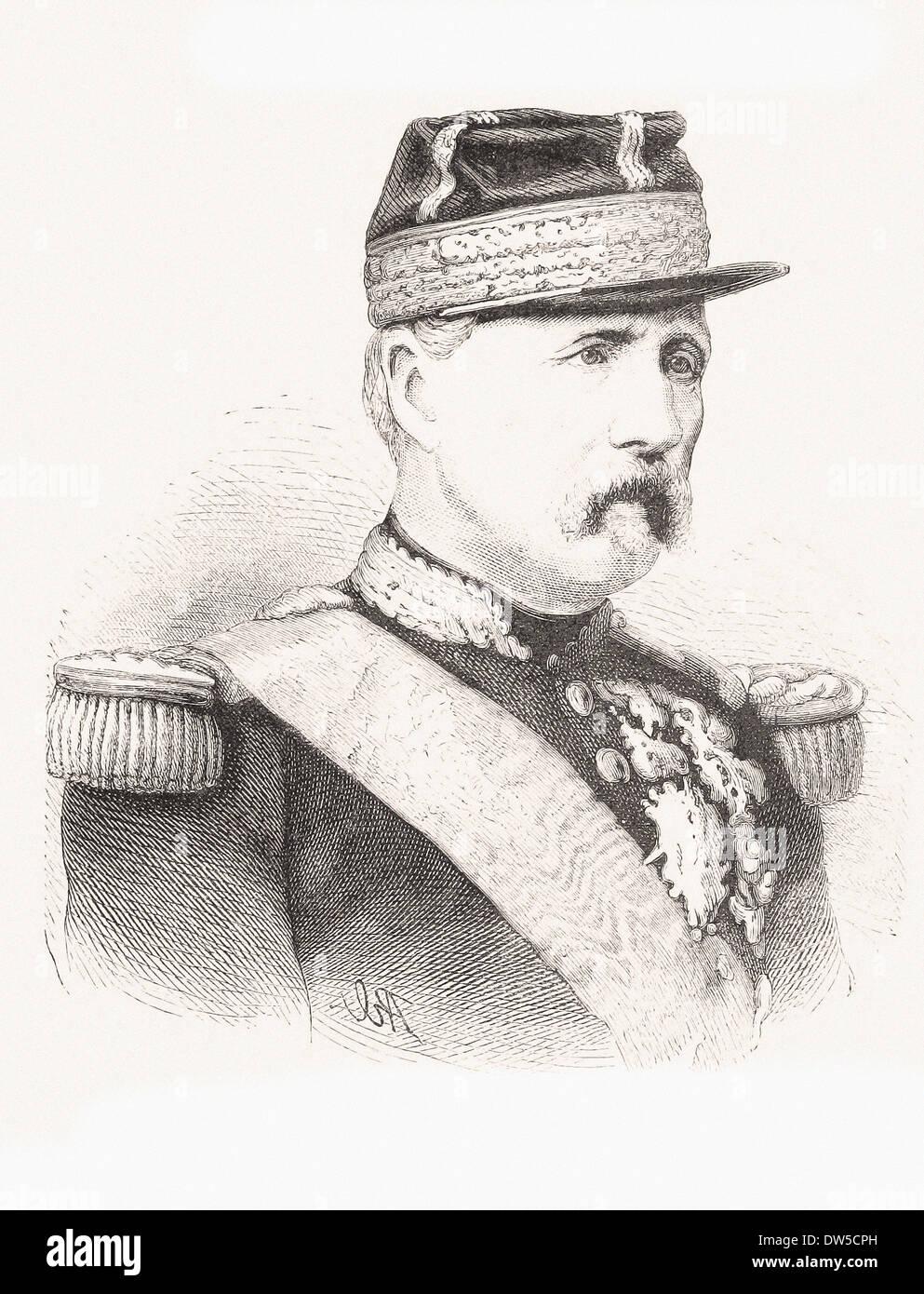 Portrait of Marshall Macmahon - Engraving XIX th century - Stock Image