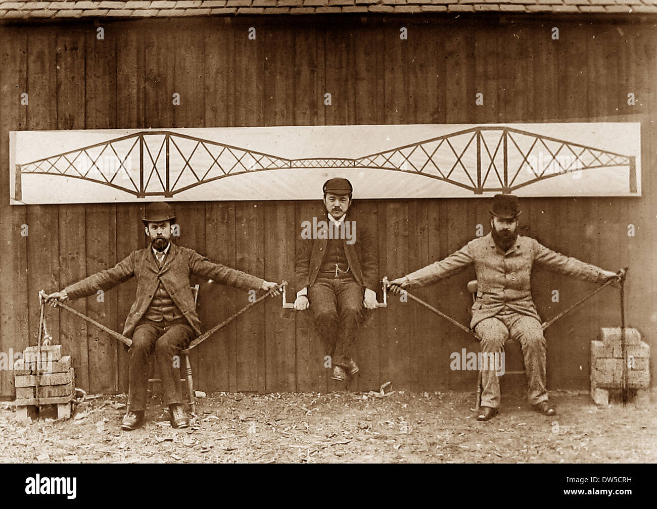 Construction of the Forth Railway Bridge - demonstrating the cantilever principle - Victorian period - Stock Image