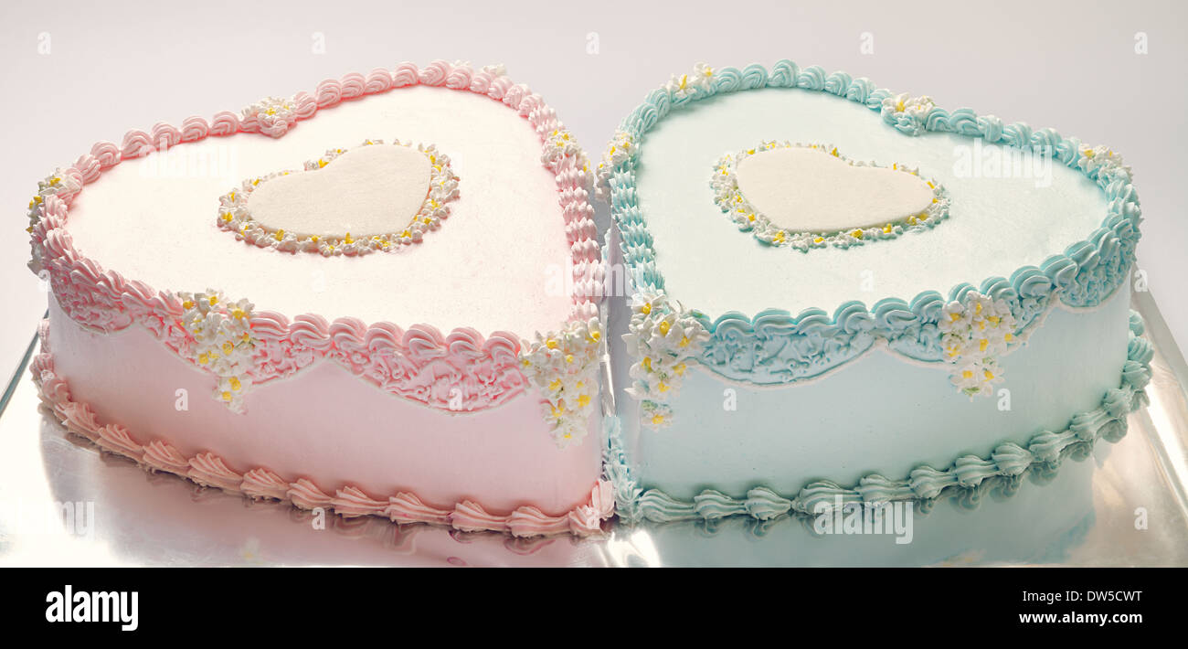 Awesome Birthday Cakes Twins Boy Girl Stock Photos Birthday Cakes Twins Funny Birthday Cards Online Unhofree Goldxyz
