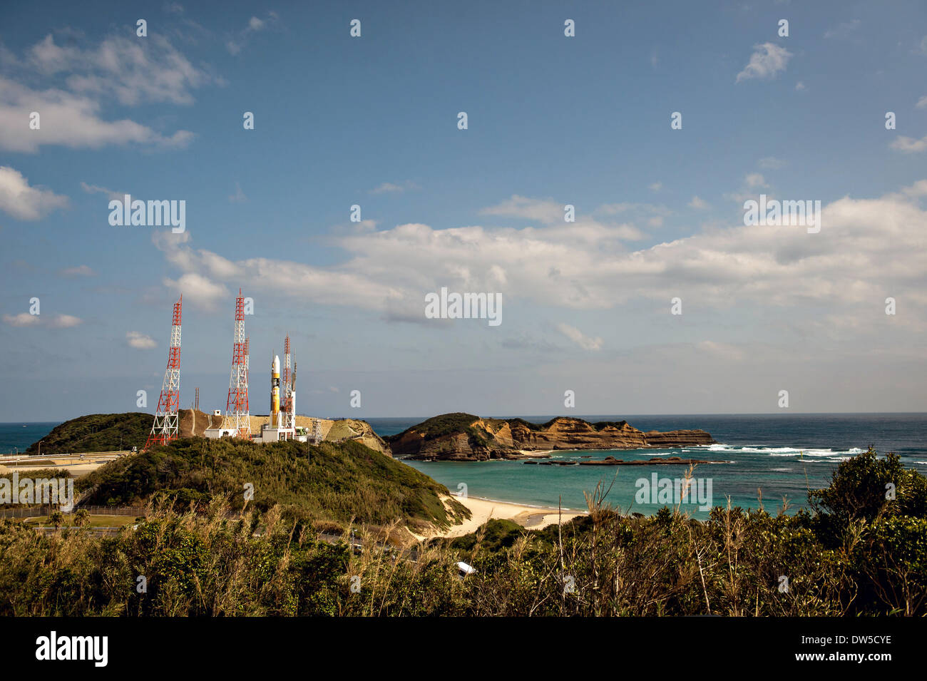 A Japanese Aerospace Exploration Agency H-IIA rocket carrying the NASA-JAXA Global Precipitation Measurement Core Observatory satellite rolls out to launch pad 1 at the Tanegashima Space Center February 27, 2014 in Tanegashima, Japan. - Stock Image