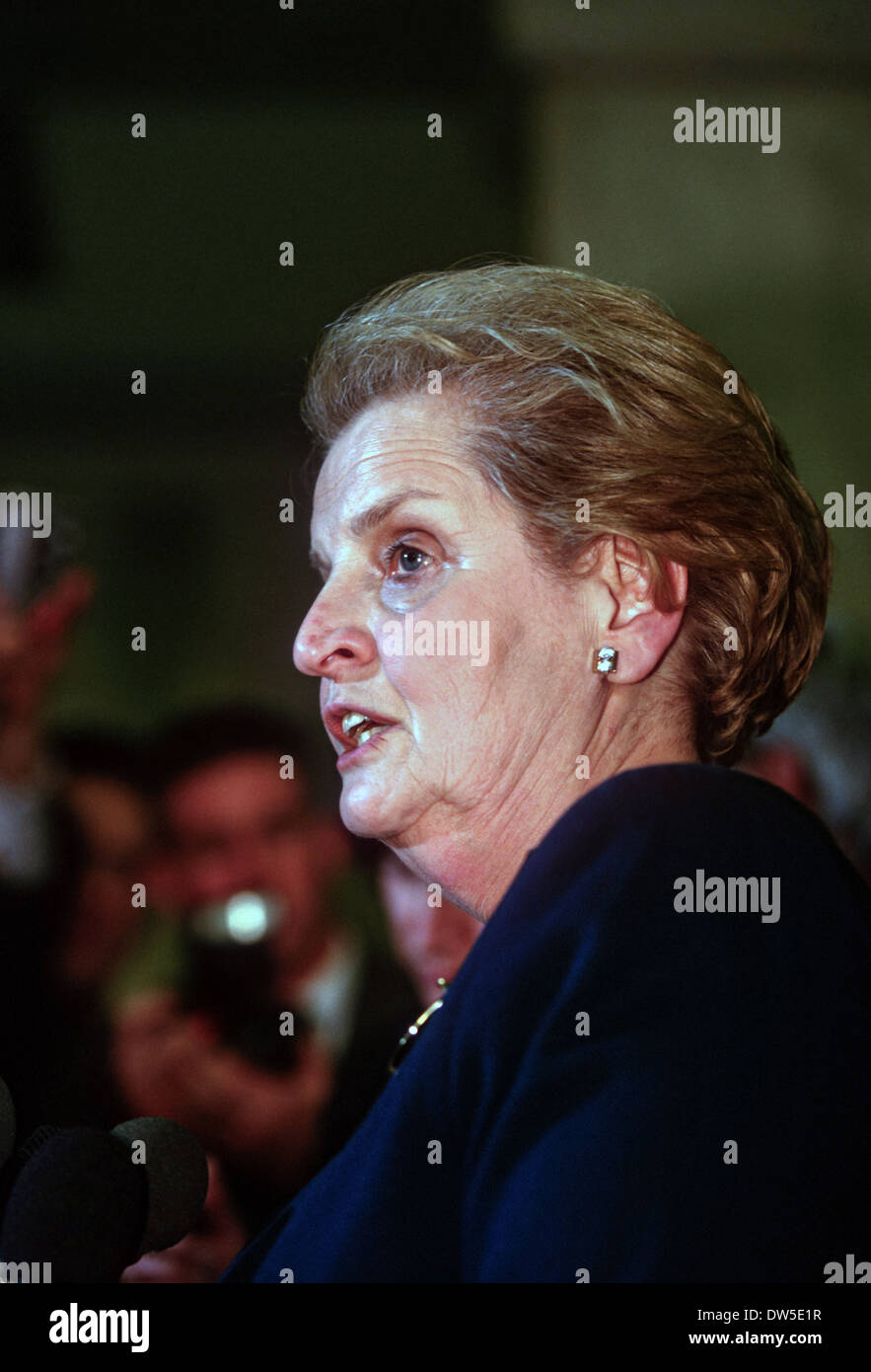 Secretary of State Madeleine Albright during a event at the White House February 25, 1998 in Washington, DC. - Stock Image