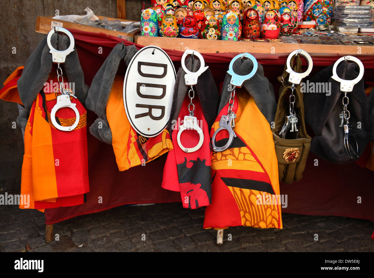 Souvenirs are for sale at Checkpoint Charlie in Berlin, August, 01, 2013. More and more tourists come to the German capital every year. The photo is part of a series on tourism in Berlin. Photo. Wolfram Steinberg dpa - Stock Image