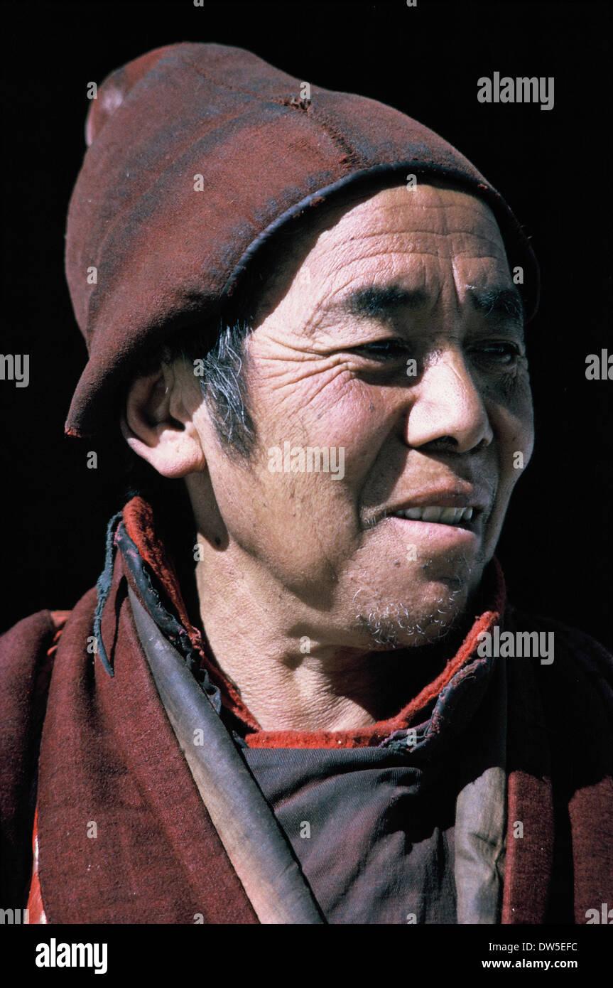 Full-face color/colour portrait, Tibetan monk, Nepal, 1969 - Stock Image