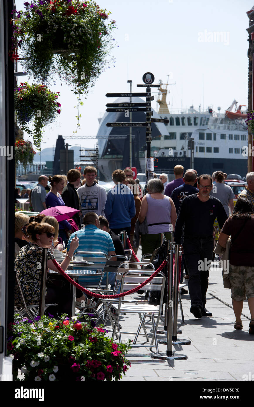 Stornoway town centre and ferry - Stock Image