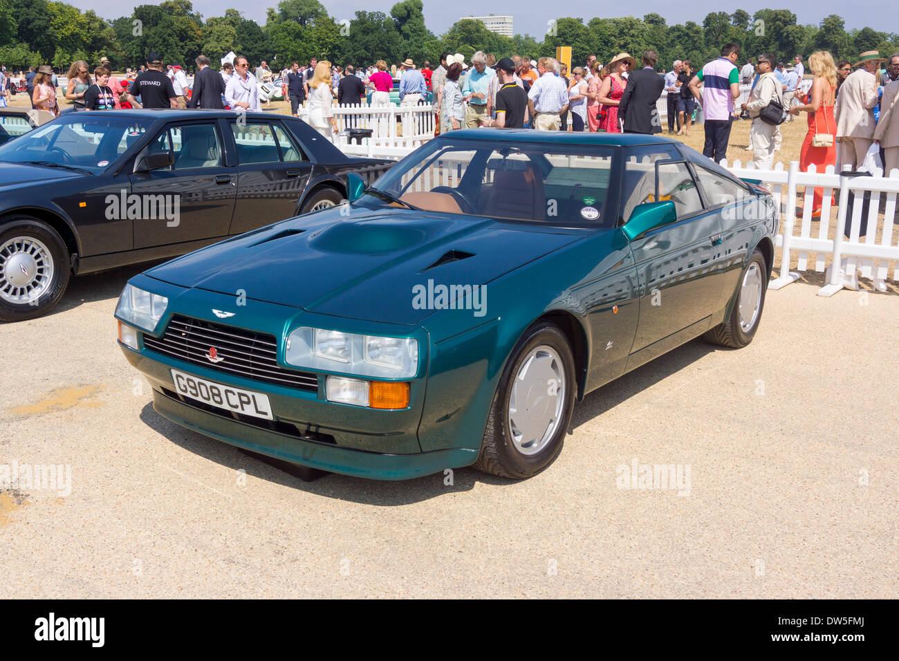 Aston Martin V8 ZAGATO (1987-1990), Aston Martin Timeline, Centenary Celebration 2013, 100 years Aston Martin, Kensington Stock Photo