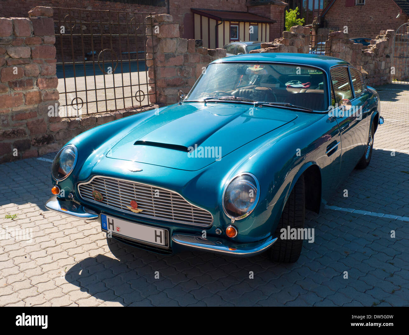 Aston Martin DB5 (1963 to 1965), in a parking lot, Hesse, Germany - Stock Image