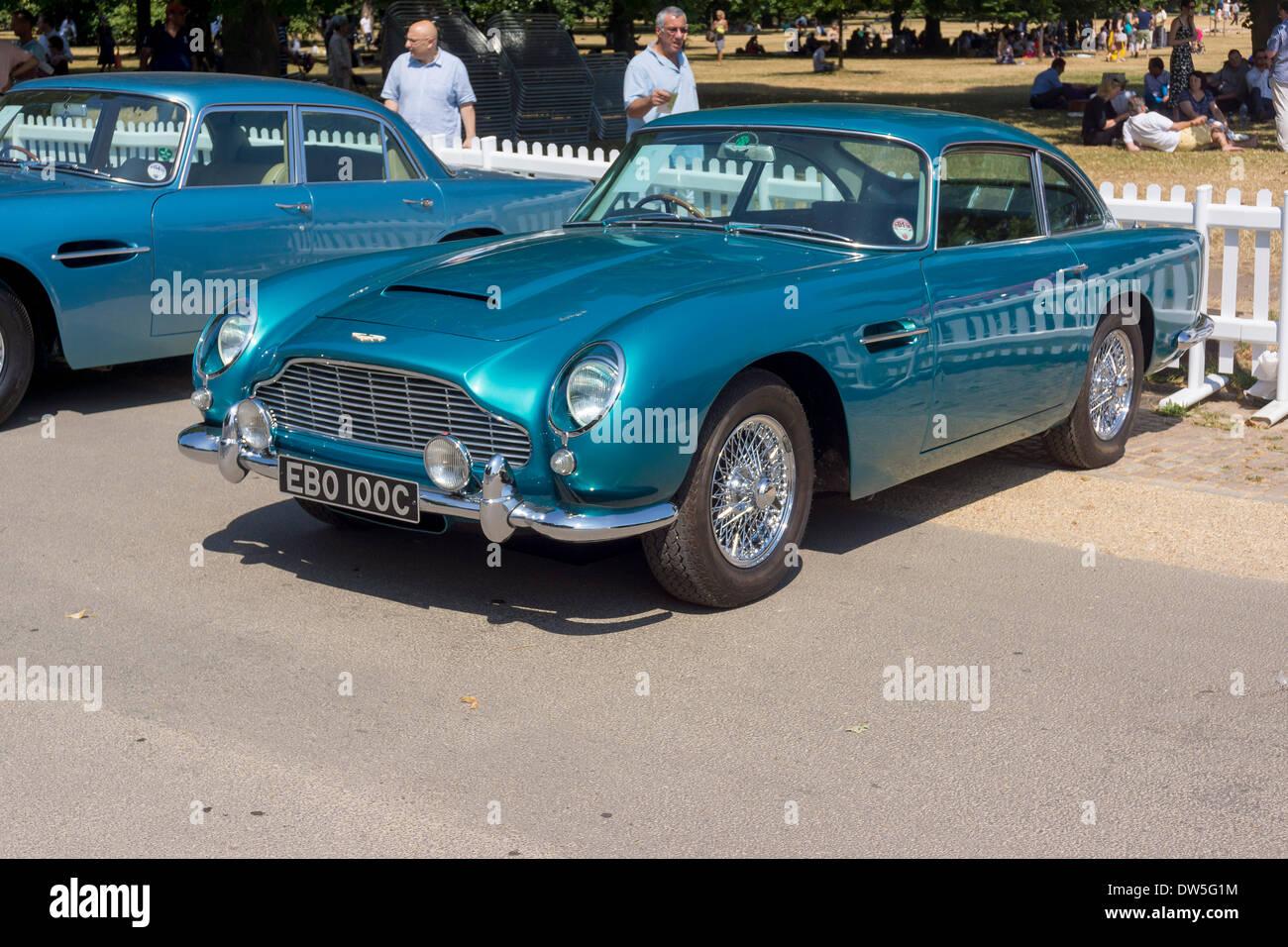 Aston Martin DB5 (1963 to 1965), Aston Martin Timeline, Centenary Celebration 2013, 100 years Aston Martin, Kensington Stock Photo