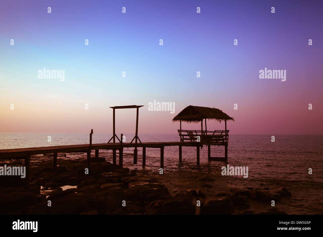 sunset on the beach - Stock Image