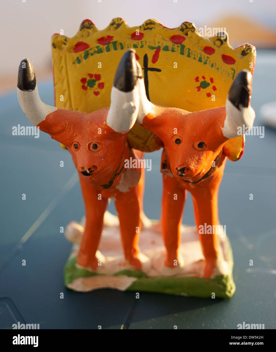 Portugese earthen figurine of two ox oxes in the yoke - Stock Image