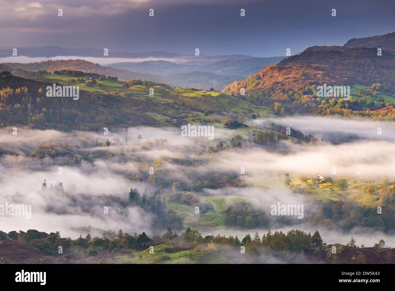 Mist covered fells in the Lake District National Park, Cumbria, England. Autumn (October) 2012. - Stock Image