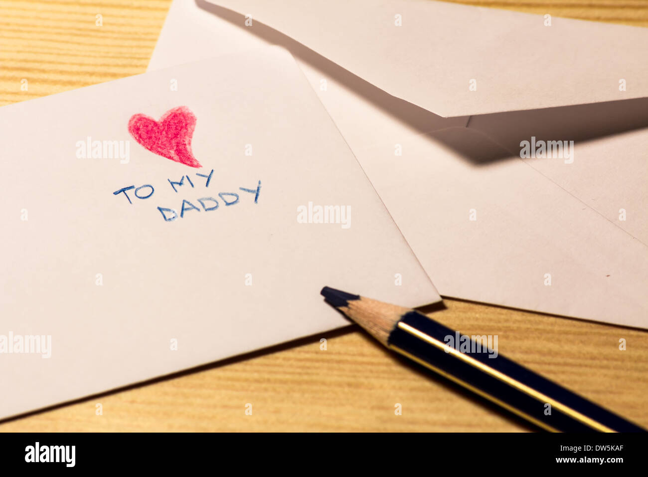 letter from a children to his dad for the father's day Stock