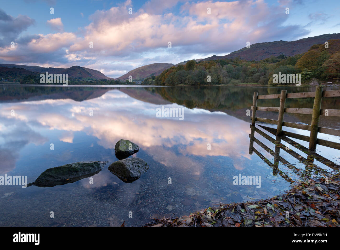Sunset above Grasmere in the Lake District National Park, Cumbria, England. Autumn (October) 2012. - Stock Image
