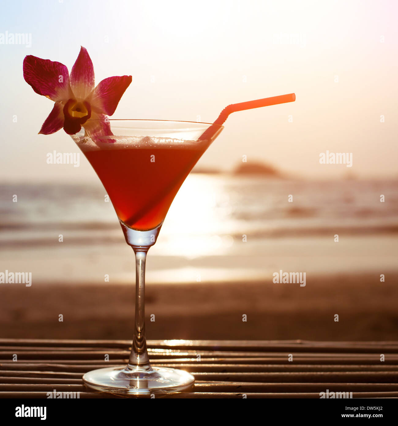 beautiful cocktail on the beach - Stock Image