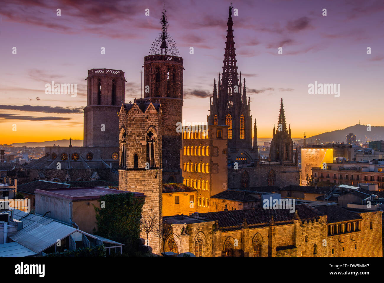 Barri Gotic skyline at sunset with Cathedral of the Holy Cross and Saint Eulalia, Barcelona, Catalonia, Spain - Stock Image