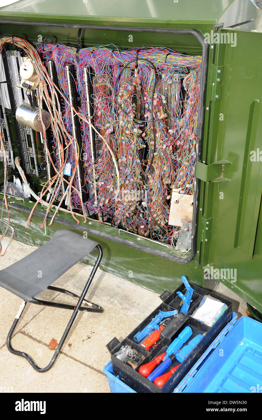 A telecommunications junction box under repair - Stock Image