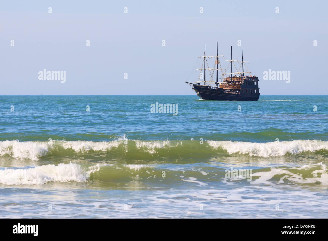 Touristic Pirate Boat at Florianópolis - Stock Image