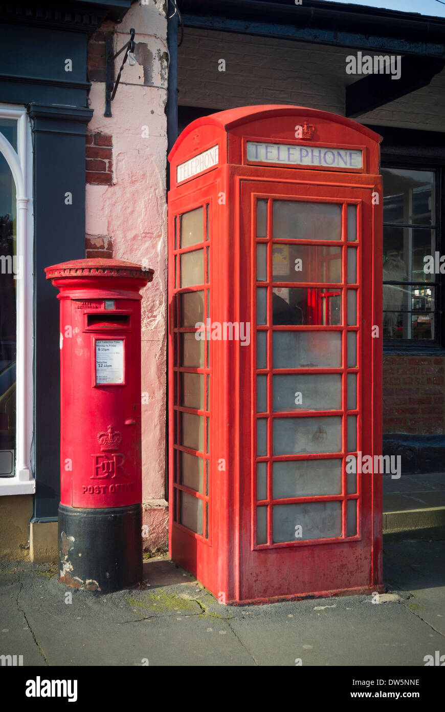 Traditional Red British Telephone Box and Post box - Stock Image