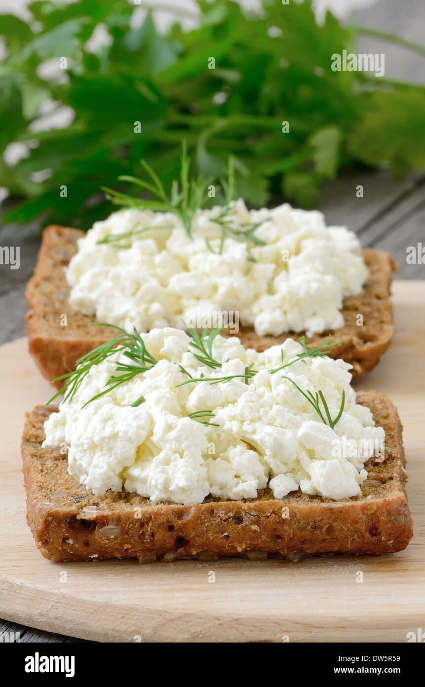 Sandwiches with curd cheese and dill - Stock Image