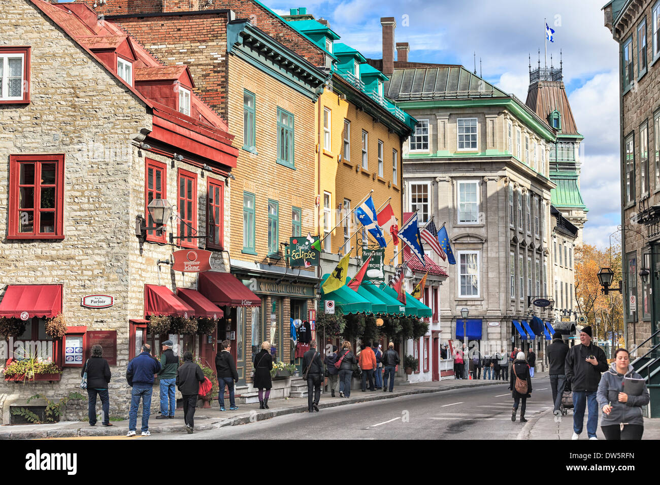 Rue Saint-Louis in the Upper Town area of Old Quebec City, Quebec, Canada - Stock Image
