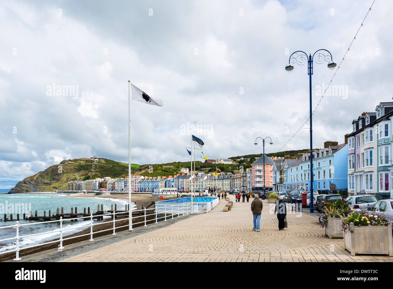The seafront promenade at Aberystwyth, Ceredigion, Wales, UK - Stock Image