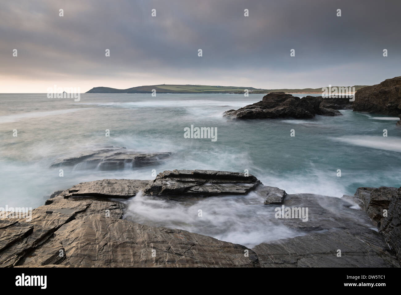 Trevose Head from Treyarnon Point, Cornwall, England. Summer (June) 2013. - Stock Image