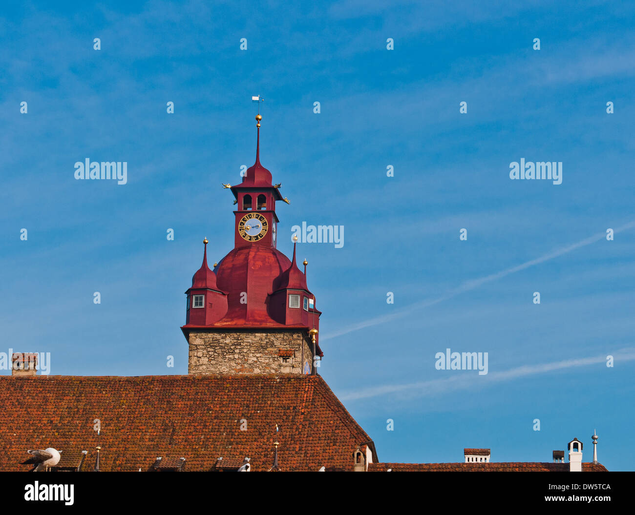 View Of Red Clock Tower On Blue Skies In The City Of Luzern, Switzerland