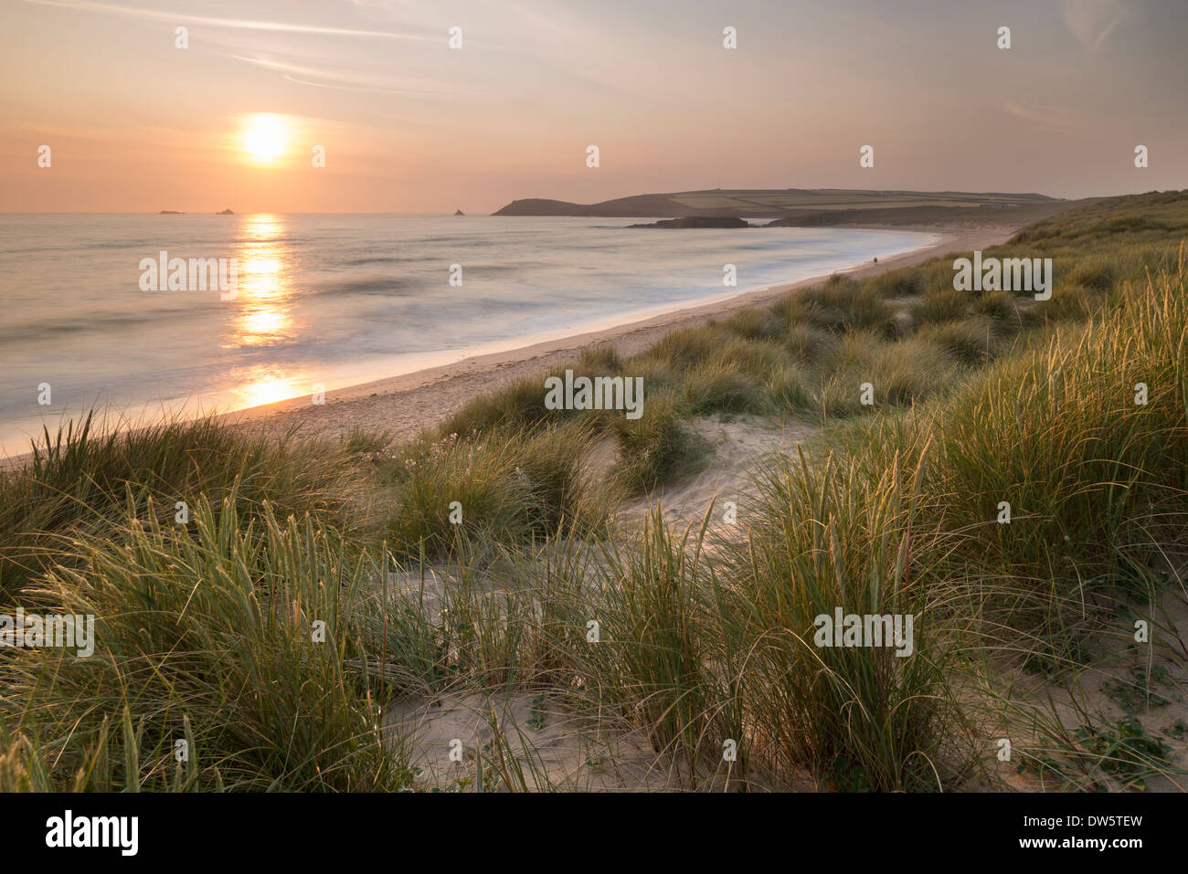Sunset over Constantine Bay in North Cornwall, England. Summer (June) 2013. - Stock Image