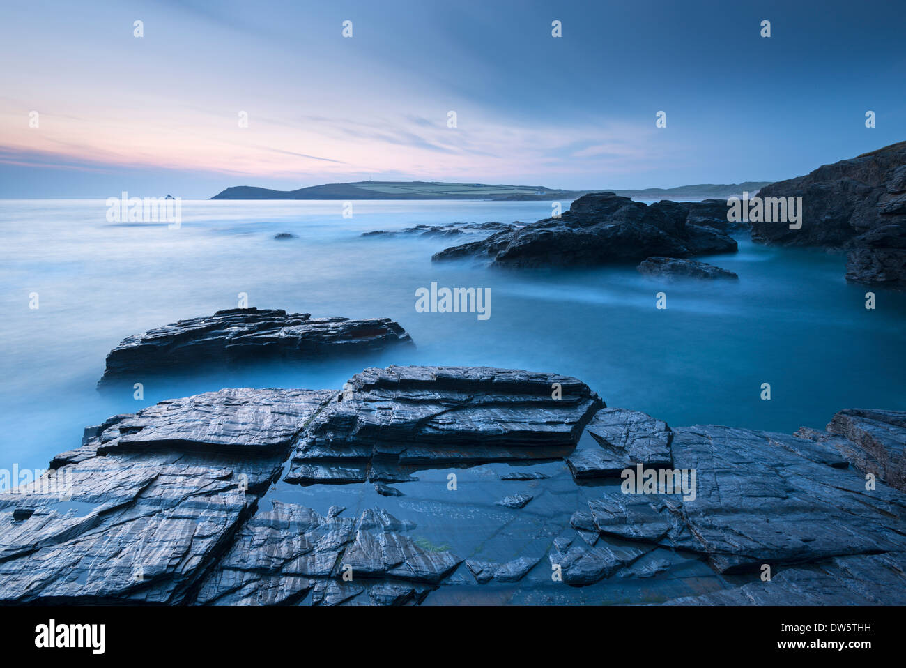 Trevose Head at dusk from Treyarnon Point, North Cornwall, England. Summer (June) 2013. - Stock Image
