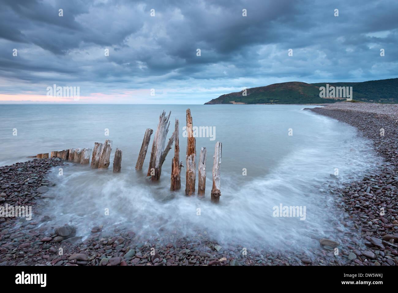 Wooden sea defences at Bossington Beach, Exmoor, Somerset, England. Summer (July) 2013. - Stock Image