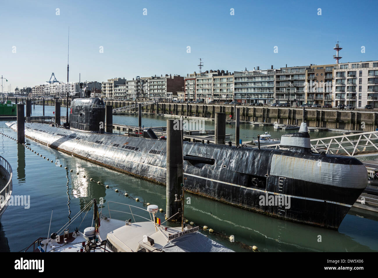 Russian diesel-electric submarine B-143 / U-480 Foxtrot type 641 at the Seafront Maritime Theme Park in Zeebrugge, Belgium - Stock Image