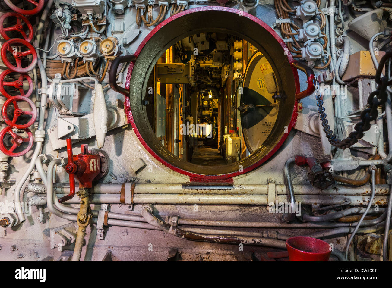 Opened hatch in Russian diesel-electric submarine B-143 / U-480 Foxtrot type 641 at the Seafront, Zeebrugge, Belgium - Stock Image