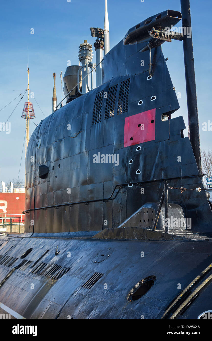 Conning tower / sail of Russian submarine B-143 / U-480 Foxtrot type 641 at the Seafront Maritime Theme Park, Zeebrugge, Belgium - Stock Image