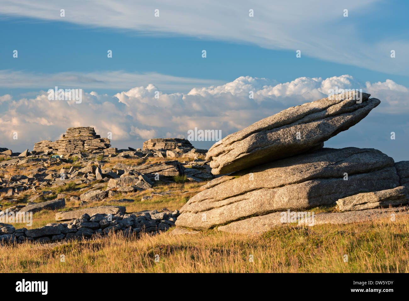 Granite outcrops at Higher Tor in Dartmoor National Park, Devon, England. Summer (July) 2013. - Stock Image