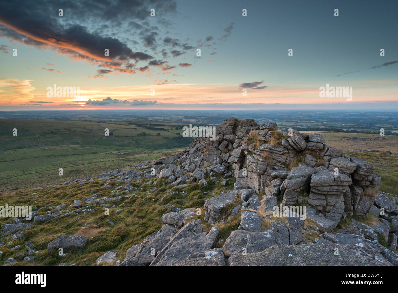 Summer sunset over Dartmoor National Park, Devon, England. Summer (July) 2013. - Stock Image