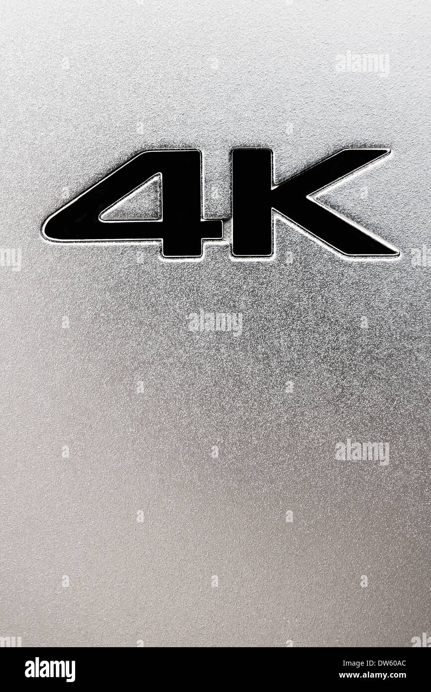Silver 4K embossed label - Stock Image