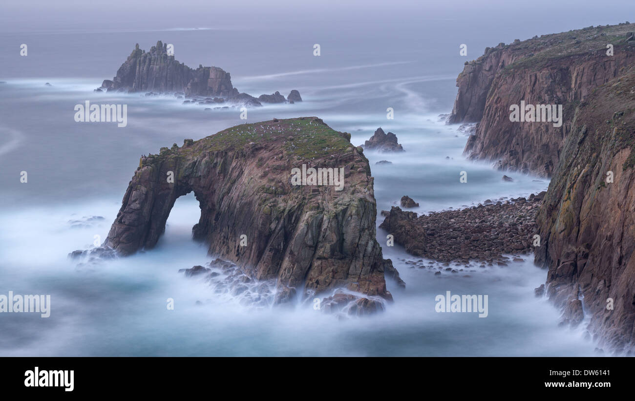 Dramatic cliffs at Land's End in Cornwall, England. Autumn (October) 2013 - Stock Image