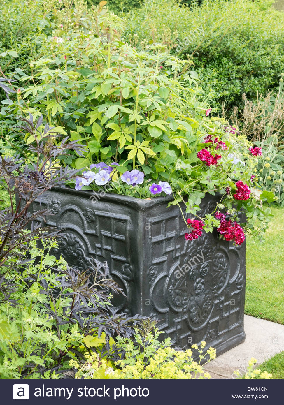 Imitation square decorated lead patio planter with plants and flowers in Easton Walled Gardens, Lincolnshire, England, UK - Stock Image
