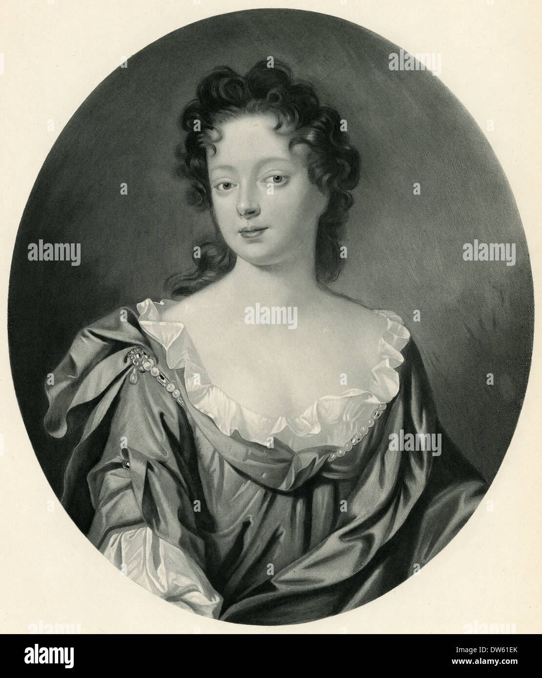 Antique engraving, Eleanor 'Nell' Gwyn, mistress of King Charles II. - Stock Image