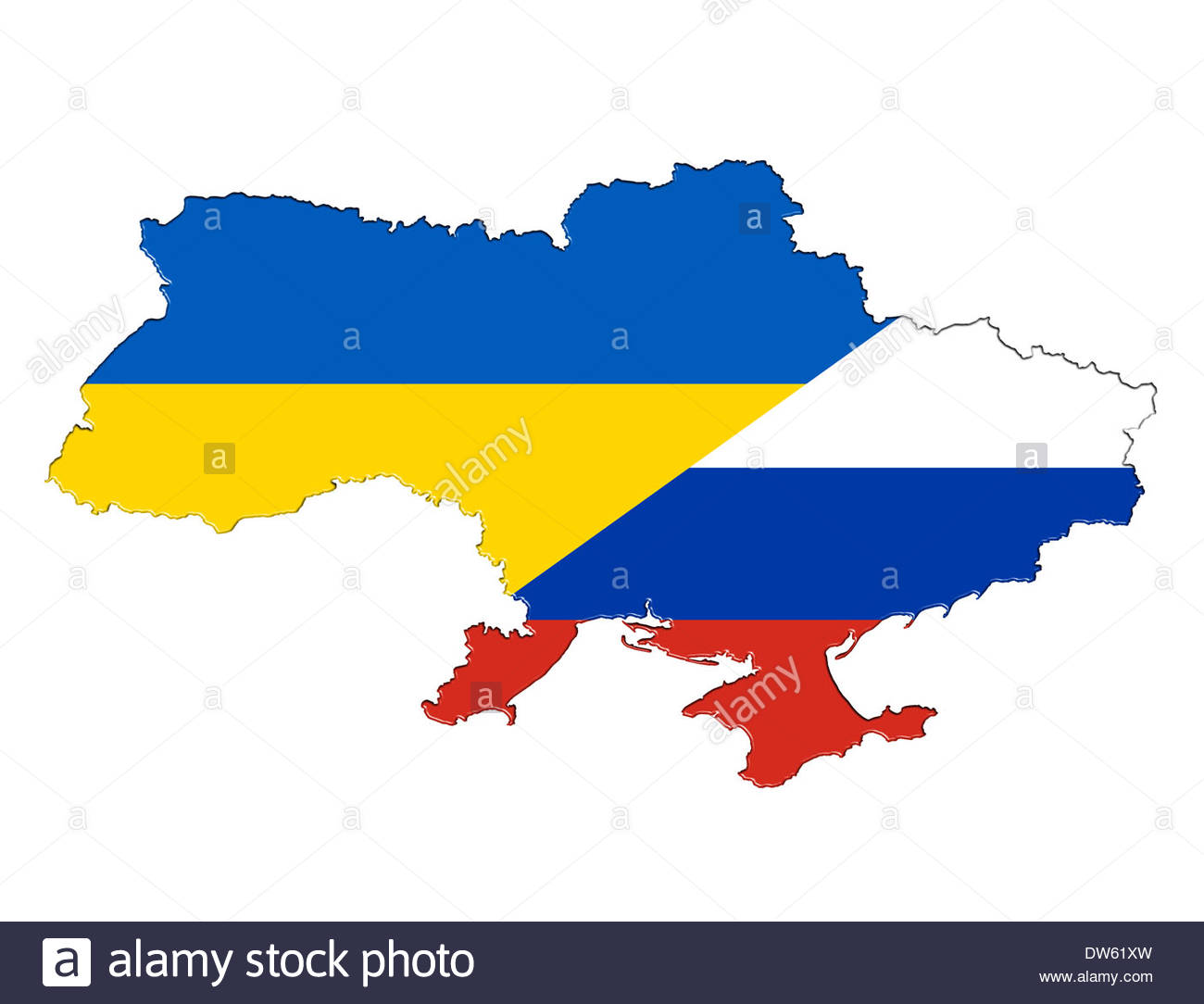 Map flag banner of the Ukraine separate in the Russian and Ukrainian part - Stock Image