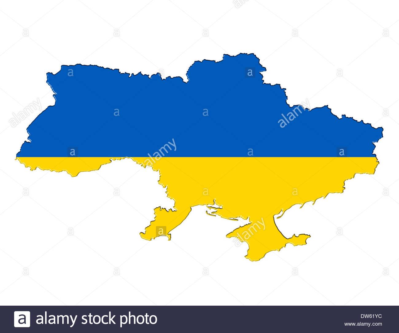 Ukrainian map flag icon of Ukraine - Stock Image