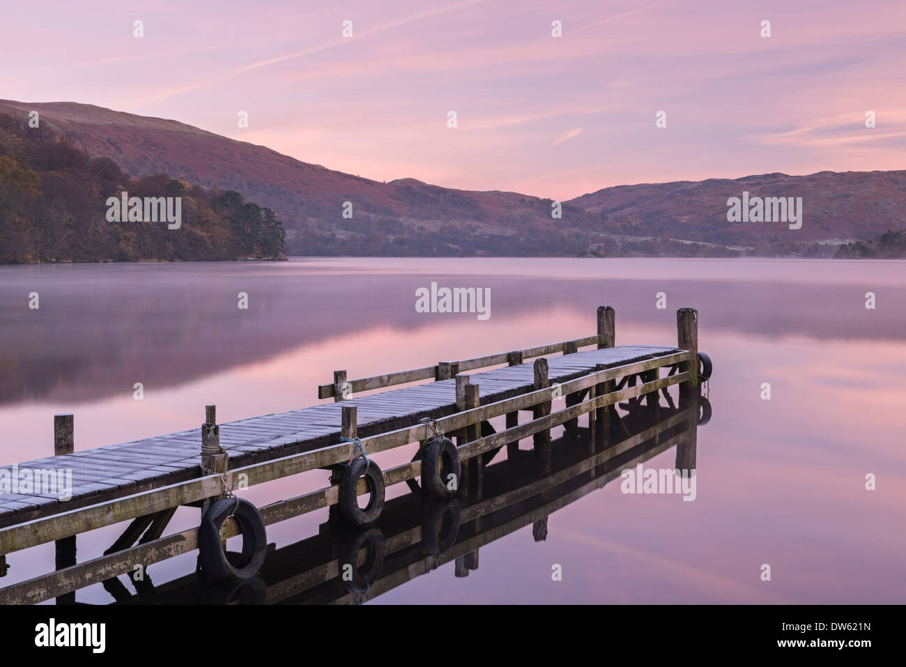 Frosty jetty on Ullswater at dawn, Lake District, Cumbria, England. Autumn (November) 2013. Stock Photo