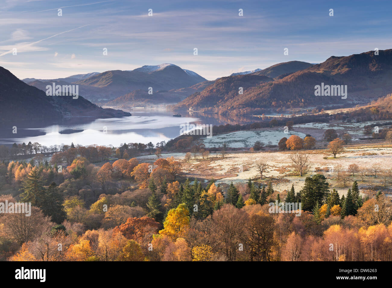 Ullswater from Gowbarrow Fell on a frosty autumn morning, Lake District, Cumbria, England. November 2013. - Stock Image